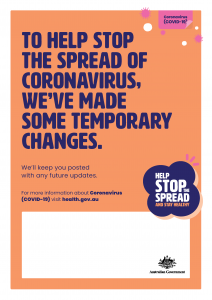 COVID-19 Help Stop The Spread - Temporary Changes